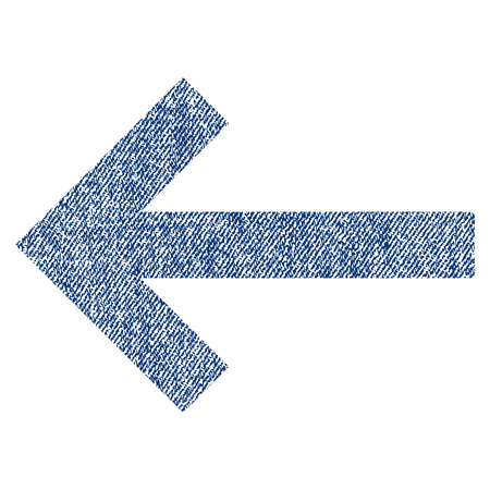 Left Arrow raster textured icon for overlay watermark stamps. Blue jeans fabric rasterized texture. Symbol with dirty design. Blue ink rubber seal stamp with fiber textile structure. Stock Photo