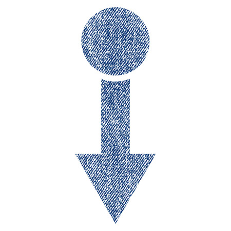 Pull Down raster textured icon for overlay watermark stamps. Blue jeans fabric rasterized texture. Symbol with scratched design. Blue ink rubber seal stamp with fiber textile structure.