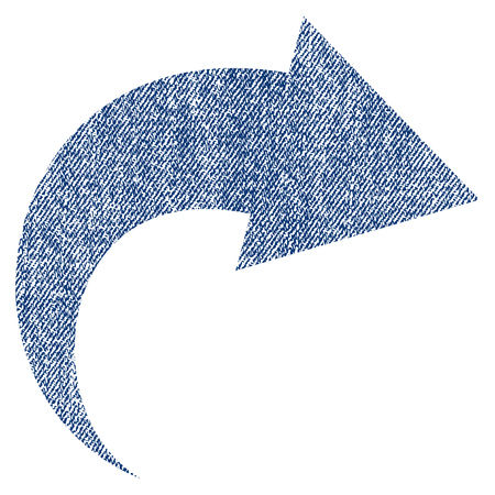 redo: Redo raster textured icon for overlay watermark stamps. Blue jeans fabric rasterized texture. Symbol with scratched design. Blue ink rubber seal stamp with fiber textile structure.
