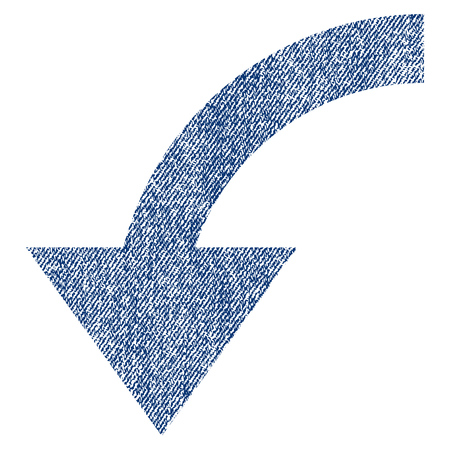 Rotate CCW raster textured icon for overlay watermark stamps. Blue jeans fabric rasterized texture. Symbol with unclean design. Blue ink rubber seal stamp with fiber textile structure.