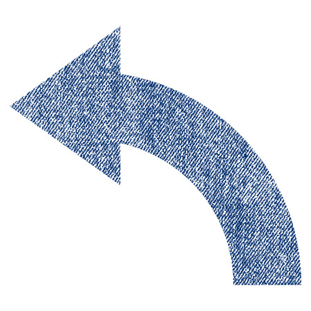 Rotate Left raster textured icon for overlay watermark stamps. Blue jeans fabric rasterized texture. Symbol with dirty design. Blue ink rubber seal stamp with fiber textile structure.
