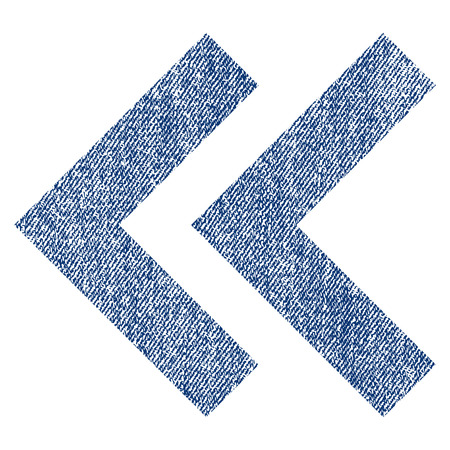 before: Shift Left raster textured icon for overlay watermark stamps. Blue jeans fabric rasterized texture. Symbol with dust design. Blue ink rubber seal stamp with fiber textile structure. Stock Photo