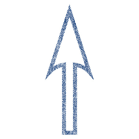Sharp Arrow Up raster textured icon for overlay watermark stamps. Blue jeans fabric rasterized texture. Symbol with scratched design. Blue ink rubber seal stamp with fiber textile structure.