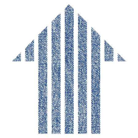 Stripe Arrow Up raster textured icon for overlay watermark stamps. Blue jeans fabric rasterized texture. Symbol with dust design. Blue ink rubber seal stamp with fiber textile structure.