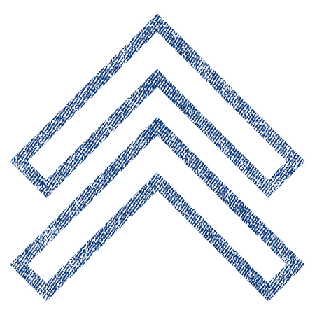 Shift Up raster textured icon for overlay watermark stamps. Blue jeans fabric rasterized texture. Symbol with dirty design. Blue ink rubber seal stamp with fiber textile structure.
