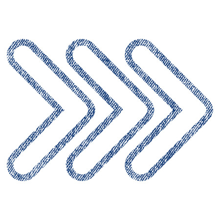 Triple Pointer Right raster textured icon for overlay watermark stamps. Blue jeans fabric rasterized texture. Symbol with scratched design. Blue ink rubber seal stamp with fiber textile structure.