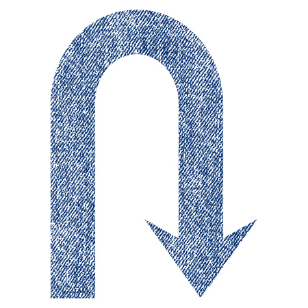 Turn Back raster textured icon for overlay watermark stamps. Blue jeans fabric rasterized texture. Symbol with dirty design. Blue ink rubber seal stamp with fiber textile structure.