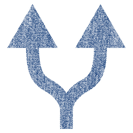 Split Arrows Up raster textured icon for overlay watermark stamps. Blue jeans fabric rasterized texture. Symbol with dust design. Blue ink rubber seal stamp with fiber textile structure.