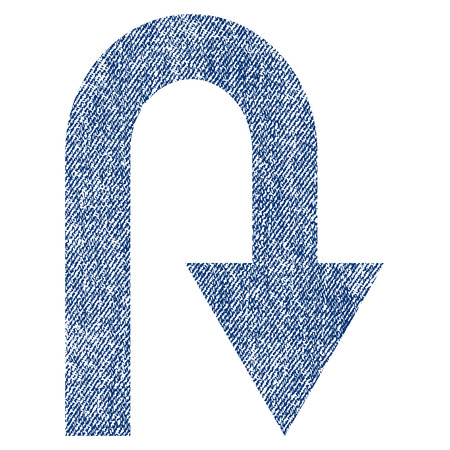 U Turn raster textured icon for overlay watermark stamps. Blue jeans fabric rasterized texture. Symbol with dirty design. Blue ink rubber seal stamp with fiber textile structure. Stock Photo
