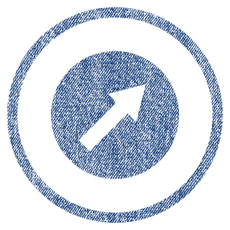 northeast: Up-Right Rounded Arrow raster textured icon for overlay watermark stamps. Blue jeans fabric rasterized texture. Symbol with unclean design. Blue ink rubber seal stamp with fiber textile structure.
