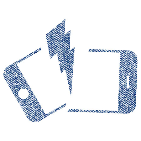 Broken Smartphone vector textured icon for overlay watermark stamps. Blue jeans fabric vectorized texture. Symbol with scratched design. Blue ink rubber seal stamp with fiber textile structure. Illustration