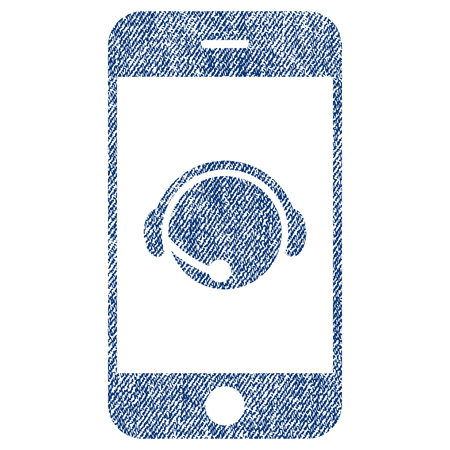 talker: Smartphone Operator Contact Head raster textured icon for overlay watermark stamps. Blue jeans fabric rasterized texture. Symbol with unclean design.