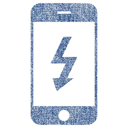 Electric Smartphone vector textured icon for overlay watermark stamps. Blue jeans fabric vectorized texture. Symbol with scratched design. Blue ink rubber seal stamp with fiber textile structure.