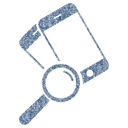 Find Smartphones vector textured icon for overlay watermark stamps. Blue jeans fabric vectorized texture. Symbol with scratched design. Blue ink rubber seal stamp with fiber textile structure. Illustration