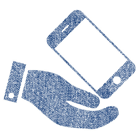 Smartphone Offer Hand vector textured icon for overlay watermark stamps. Blue jeans fabric vectorized texture. Symbol with dirty design. Blue ink rubber seal stamp with fiber textile structure.