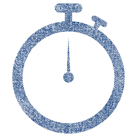 Stopwatch vector textured icon for overlay watermark stamps. Blue jeans fabric vectorized texture. Symbol with dirty design. Blue ink rubber seal stamp with fiber textile structure. Illustration