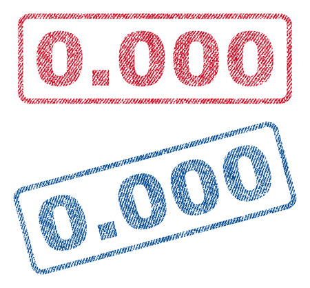 0.000 text textile seal stamp watermarks. Blue, red fabric vectorized texture. Vector caption inside rounded rectangular banner. Rubber sticker with fiber textile structure.
