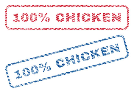fully: 100 Percent Chicken text textile seal stamp watermarks. Blue, red fabric vectorized texture. Vector caption inside rounded rectangular shape. Rubber emblem with fiber textile structure.
