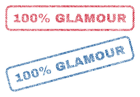 fully: 100 Percent Glamour text textile seal stamp watermarks. Blue, red fabric vectorized texture. Vector tag inside rounded rectangular shape. Rubber emblem with fiber textile structure.