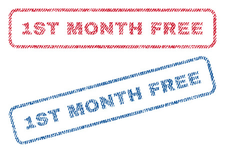 1st Month Free text textile seal stamp watermarks. Blue, red fabric vectorized texture. Vector caption inside rounded rectangular banner. Rubber sign with fiber textile structure. Illustration