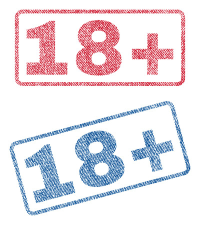 18 Plus text textile seal stamp watermarks. Blue, red fabric vectorized texture. Vector tag inside rounded rectangular shape. Rubber sign with fiber textile structure.