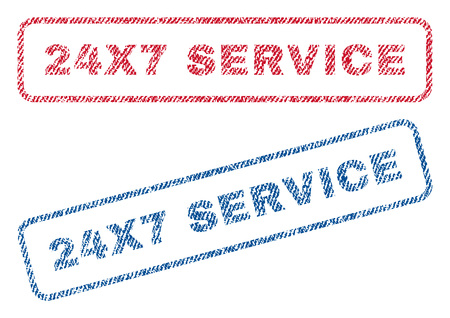 24x7: 24X7 Service text textile seal stamp watermarks. Blue, red fabric vectorized texture. Vector caption inside rounded rectangular shape. Rubber sticker with fiber textile structure. Illustration