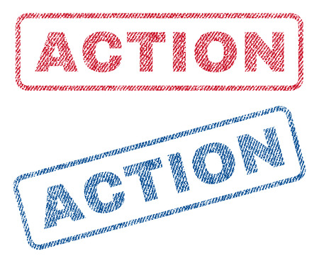 disciplinary action: Action text textile seal stamp watermarks. Blue, red fabric vectorized texture. Vector caption inside rounded rectangular banner. Rubber emblem with fiber textile structure.