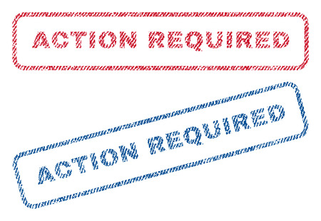 required: Action Required text textile seal stamp watermarks. Blue, red fabric vectorized texture. Vector caption inside rounded rectangular banner. Rubber sticker with fiber textile structure. Illustration