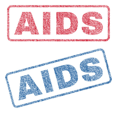 infectious disease: AIDS text textile seal stamp watermarks. Blue, red fabric vectorized texture. Vector caption inside rounded rectangular shape. Rubber sign with fiber textile structure. Illustration