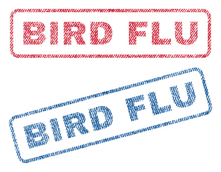 bird flu: Bird Flu text textile seal stamp watermarks. Blue, red fabric vectorized texture. Vector caption inside rounded rectangular banner. Rubber emblem with fiber textile structure. Illustration