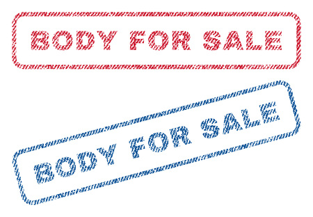 Body For Sale text textile seal stamp watermarks. Blue, red fabric vectorized texture. Vector caption inside rounded rectangular banner. Rubber sticker with fiber textile structure.