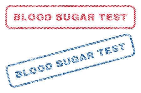 parameter: Blood Sugar Test text textile seal stamp watermarks. Blue, red fabric vectorized texture. Vector caption inside rounded rectangular shape. Rubber sticker with fiber textile structure.