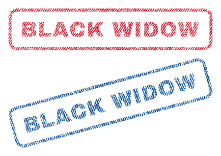 latrodectus: Black Widow text textile seal stamp watermarks. Blue, red fabric vectorized texture. Vector tag inside rounded rectangular shape. Rubber sign with fiber textile structure. Illustration
