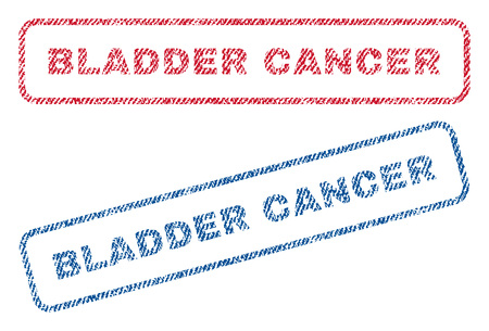Bladder Cancer text textile seal stamp watermarks. Blue, red fabric vectorized texture. Vector tag inside rounded rectangular banner. Rubber sign with fiber textile structure.