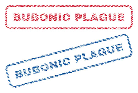 quarantine: Bubonic Plague text textile seal stamp watermarks. Blue, red fabric vectorized texture. Vector tag inside rounded rectangular banner. Rubber sign with fiber textile structure. Illustration
