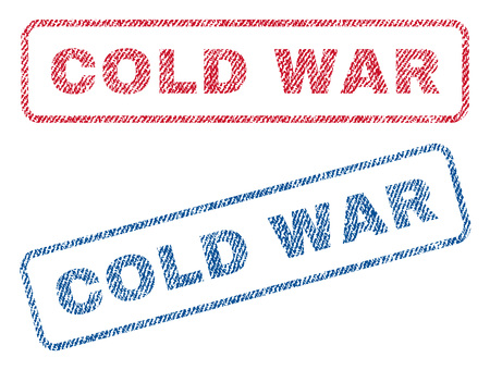 cold war: Cold War text textile seal stamp watermarks. Blue, red fabric vectorized texture. Vector tag inside rounded rectangular shape. Rubber sign with fiber textile structure. Illustration