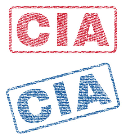 CIA text textile seal stamp watermarks. Blue, red fabric vectorized texture. Vector tag inside rounded rectangular shape. Rubber emblem with fiber textile structure.