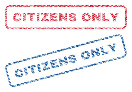 stricture: Citizens Only text textile seal stamp watermarks. Blue, red fabric vectorized texture. Vector tag inside rounded rectangular banner. Rubber emblem with fiber textile structure.
