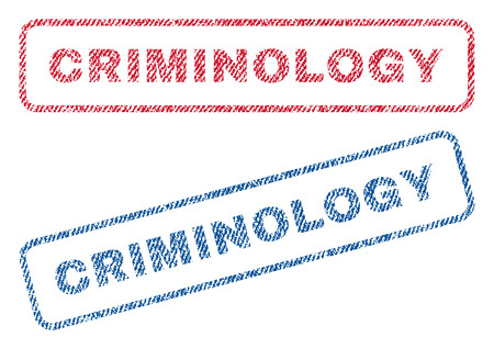 Criminology text textile seal stamp watermarks. Blue, red fabric vectorized texture. Vector tag inside rounded rectangular shape. Rubber sticker with fiber textile structure.