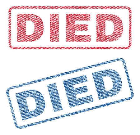 deathly: Died text textile seal stamp watermarks. Blue, red fabric vectorized texture. Vector caption inside rounded rectangular shape. Rubber sticker with fiber textile structure. Illustration