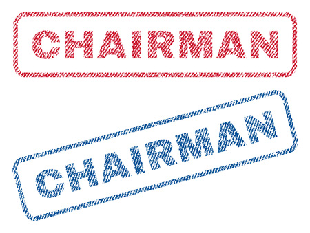 Chairman text textile seal stamp watermarks. Blue, red fabric vectorized texture. Vector caption inside rounded rectangular banner. Rubber sticker with fiber textile structure.