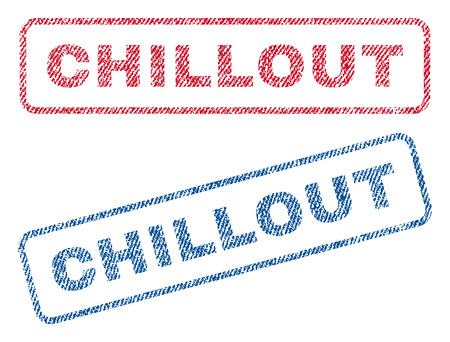 chillout: Chillout text textile seal stamp watermarks. Blue, red fabric vectorized texture. Vector tag inside rounded rectangular shape. Rubber emblem with fiber textile structure. Illustration