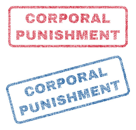 corporal: Corporal Punishment text textile seal stamp watermarks. Blue, red fabric vectorized texture. Vector tag inside rounded rectangular shape. Rubber sticker with fiber textile structure. Illustration