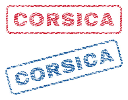 corsica: Corsica text textile seal stamp watermarks. Blue, red fabric vectorized texture. Vector tag inside rounded rectangular banner. Rubber sign with fiber textile structure.