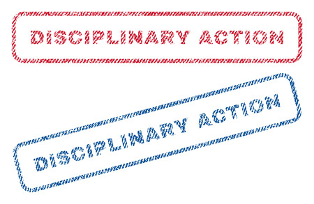 disciplinary action: Disciplinary Action text textile seal stamp watermarks. Blue, red fabric vectorized texture. Vector tag inside rounded rectangular shape. Rubber emblem with fiber textile structure.