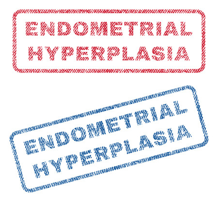endometrial: Endometrial Hyperplasia text textile seal stamp watermarks. Blue, red fabric vectorized texture. Vector tag inside rounded rectangular shape. Rubber sticker with fiber textile structure. Illustration