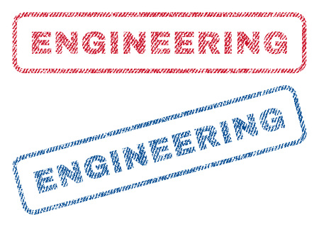Engineering text textile seal stamp watermarks. Blue, red fabric vectorized texture. Vector tag inside rounded rectangular shape. Rubber sign with fiber textile structure.