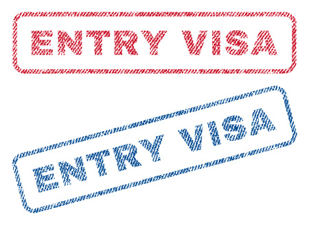 eligibility: Entry Visa text textile seal stamp watermarks. Blue, red fabric vectorized texture. Vector tag inside rounded rectangular shape. Rubber sticker with fiber textile structure. Illustration