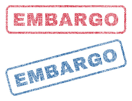 blockage: Embargo text textile seal stamp watermarks. Blue, red fabric vectorized texture. Vector caption inside rounded rectangular banner. Rubber emblem with fiber textile structure. Illustration