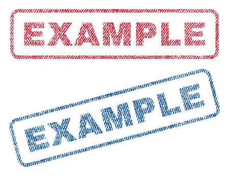 exemplar: Example text textile seal stamp watermarks. Blue, red fabric vectorized texture. Vector caption inside rounded rectangular banner. Rubber sign with fiber textile structure.